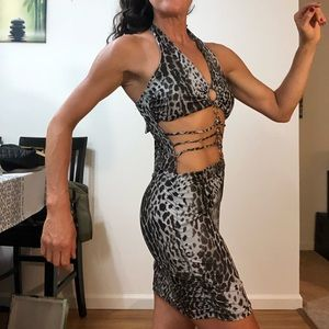 Fun revealing mini dress with rhinestone detail